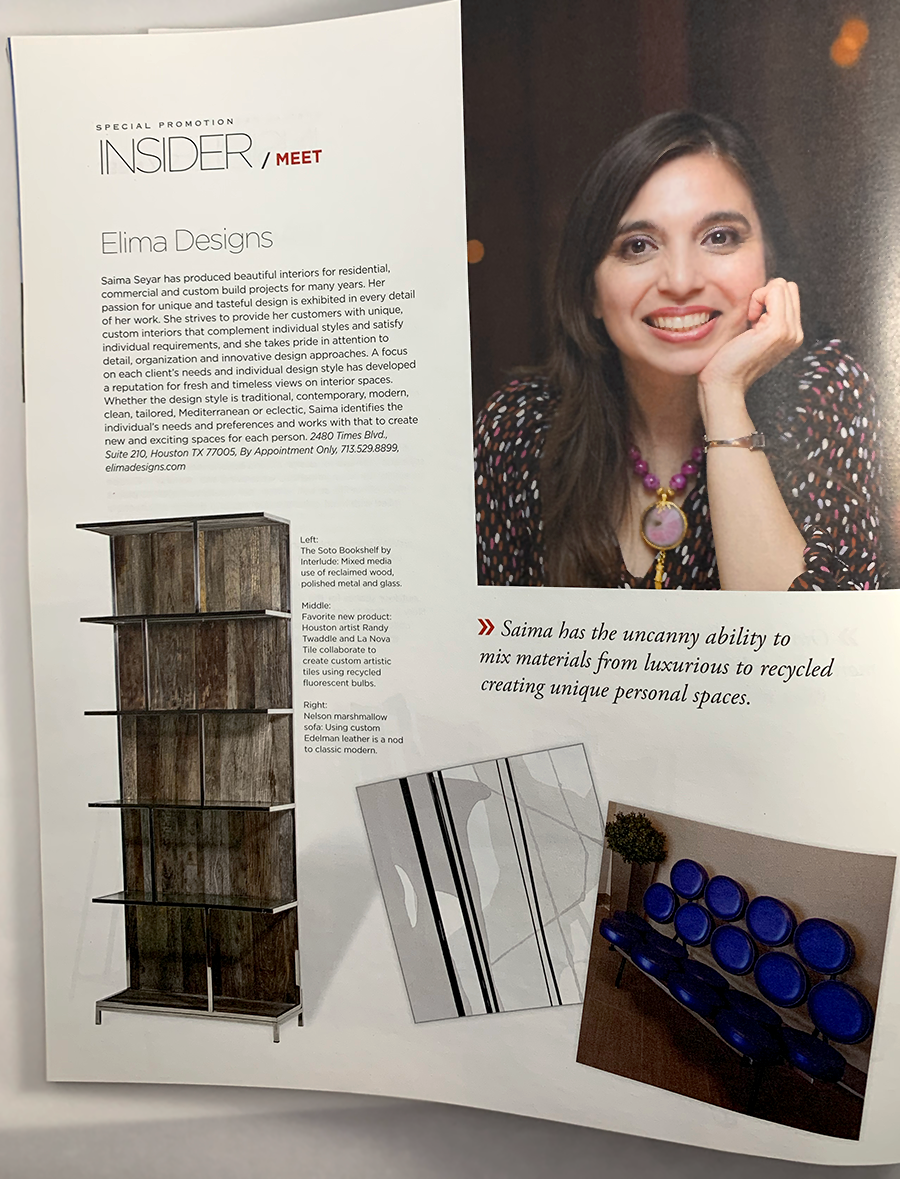 Interior designer, Saima Seyar is featured in Modern Luxury, Interior Design magazine