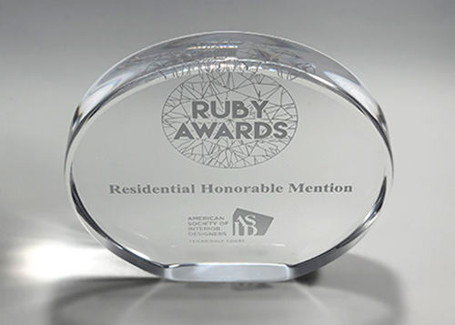 ASID Ruby Award clear acrylic oval