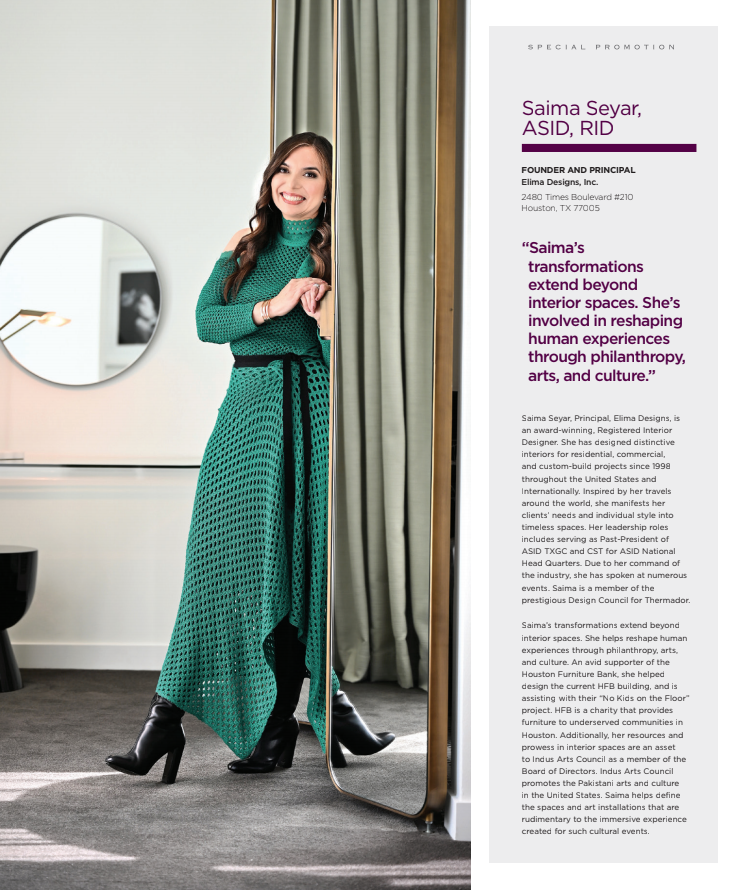photo of Saima Seyar wearing green dress featured in Modern Luxury Houston Magazine
