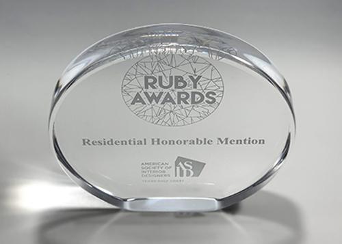 ASID Ruby Award clear acrylic oval